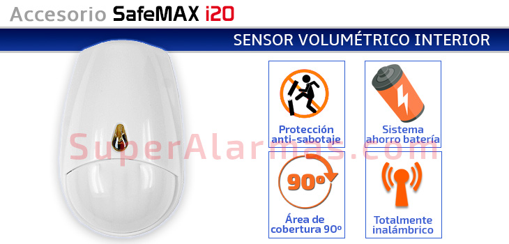 Sensor de movimiento para interior compatible con SafeMAX i20.